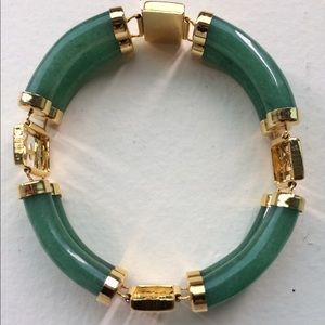 Vintage Jade Bracelet with Chinese Characters